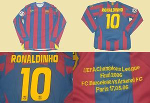 fc barcelona 2006 jersey shirt ronaldinho long sleeve champions league final