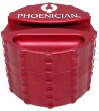 Phoenician Engineering - 4 Piece Herb Grinder - Large w/ Paper Holder - Red