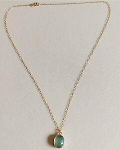 14ct Yellow Gold Chain & Aquamarine Pendant