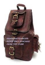 Handmade Brown Leather Backpack Rucksack Travel Collage Weekend Bag Vintage