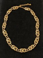 Vintage Napier Signed Gold Chunky Statement Infinity Chain Necklace Matte Finish