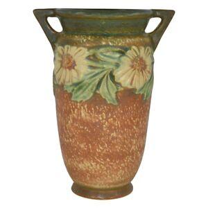 Vintage Roseville Pottery Dahlrose 1928 Brown Arts and Crafts Vase 366-8