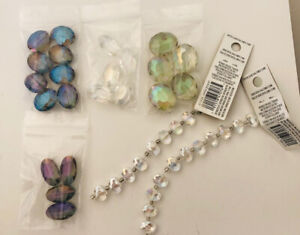Lot 44 4mm Glass oval 10mm - 20mm  faceted beads Jewelry Making iridescent