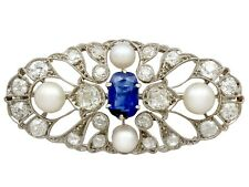 Antique 2.58Ct Sapphire and 2.40Ct Diamond, Pearl and 18k White Gold Brooch