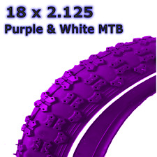 1 x Purple Tyre with White Line 18 x 2.125  Girls Bike Bicycle