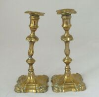 Antique Pair of Ornate  Brass Rococo  Style Candlesticks