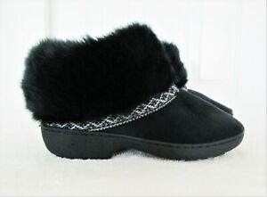 Isotoner Size Small 6.5 - 7 Black Chevron MicroSuede Faux Fur Boot Slippers