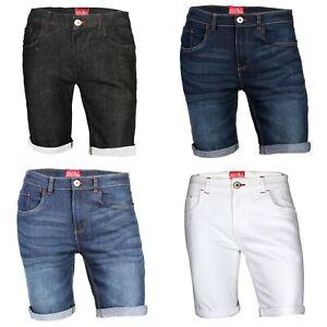 Mens Denim Shorts Stretch Slim Fit Rolled Hem Jeans Half Pants