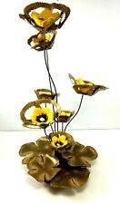Metal Brass And Ceramic Flower Arrangement Sculpture Wood Base Vintage