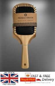 """Hand Crafted Bamboo DE TANGLING Paddle Cushion Hair Brush ECO FRIENDLY 10"""" Long"""