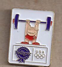 1992 Pedigree Barcelona Olympic Weightlifting Pin Cobi USA Rings