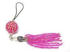 Shamballa Pink Disco Tassle Ball Charm for Cell Phone Keyring Necklace Handbag