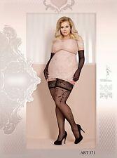 Halterlose Strümpfe schwarz große Größen Damen big size 20den 371
