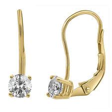 Ladies 14K Yellow Gold Genuine Diamond Solitaire LeverBack Dangle Earrings .50Ct
