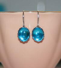 Vintage German Aqua glass bridesmaid artisan drop silver earrings