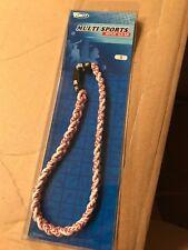 NEW Brett Bros Ionic Gear Ion Braided Titanium Necklace Baseball Stripes Small