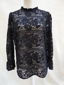 Gothic style black holey/lace with ruffle neckline long sleeve top Size 16