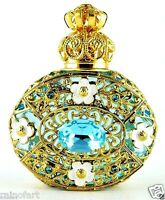 Perfume Bottle Gold Tone Filigree Vintage Blue Faceted Crystal Collectible Vial