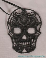 "Embroidered Black Lace Gothic Skull Day of the Dead 3.75"" Pendant Necklace"