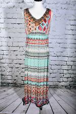 CHICO Size 1 (8) Sleeveless Beaded BOHO Maxi Dress Southwestern Native Turquoise