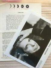 Leonard Cohen 1992 , original vintage press kit headshot photo & bio