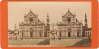 Florence Firenze Chiesa S.Croce Italia Foto Stereo Vintage Albumina