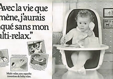 PUBLICITE ADVERTISING 054  1979  BABY RELAX  siège   Bébé  MULTI-RELAX ( 2 pages