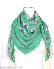 ALEXANDER McQUEEN DECONSTRUCTED SKULL GREEN FRINGED PASHMINA SCARF