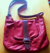 USA ARTISAN Handcrafted Full Grain  Pebble LEATHER Red BROWN SHOULDER BAG PURSE