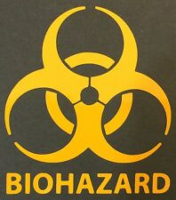 1 NEW YELLOW BIOHAZARD LOGO WARNING DANGER ZOMBIE OUTBREAK VINYL DECAL STICKER