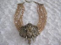 "HEIDI DAUS ""Chic Sheik"" (Golden Shadow) Beaded Elephant Necklace (Orig.$299.95)"