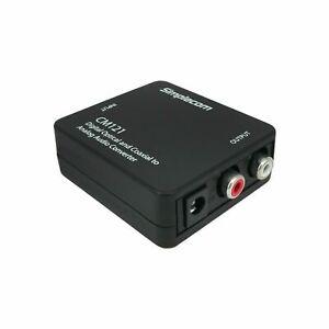 Simplecom Digital Optical Toslink & Coaxial to Analog RCA Audio Converter CM121