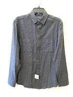 Wallin Bros Mens DK Gray Grindle Flannel Button Down Long Sleeve Shirt Medium