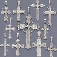 925 Solid Sterling Silver Pendant-Diamond Cut Cross Pendant-Silver Cross