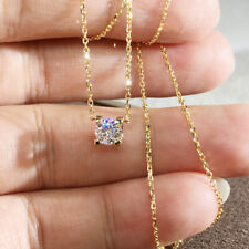 1.0ct 6.5mm Round Briliant Cut Moissanite Pendant Real 14k Yellow Gold DF VVS1