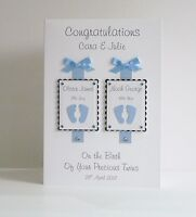 Twins New Baby Congratulations Card Handmade & Personalised