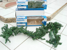 "Phillips Led Garland 6"" cordless Warm White Timer in &outdoor evergreen lot of 3"