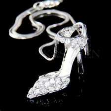 w Swarovski Crystal 3D Cinderella Slippers Princess High Heel Shoes Necklace New