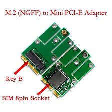 M.2 NCFF Key B to Mini PCI-E Adapter with SIM Card  for CDMA GPS LTE