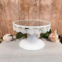 Round Mirrored White Lace Cake Stand Display Dessert Holder Wedding Party Decor