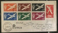 1946 Douala French Cameroon Airmail Cover to New York USA Stamp Set Sc #C1-7
