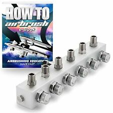 PointZero Airbrush Manifold 6-Way Air Hose Splitter 1/8 in BSP Taps for 6 Guns