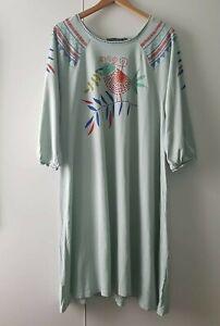 Gudrun Sjoden Dress S M Blue 3/4 Sleeve Cotton Modal Bird Print Mark Cotton