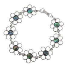 Blue Green Abalone/Paua Shell Piuttosto Fiore Link braccialetto d'argento