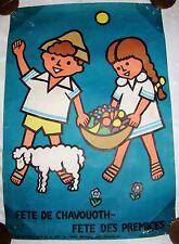 jewish judaica poster Shavuot kibbutz kkl jnf early israel french written kids
