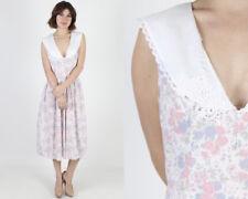 Vintage 80s Gunne Sax Boho Deco Wedding Pastel Floral Lace Collar Maxi Dress M
