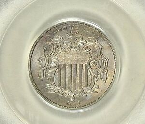 RARE ! ~ 1867 ~ SHEILD NICKEL ~NO RAYS~ PCGS ~ MS ~65~ OGH ~ TONED GEM ~ $788.88