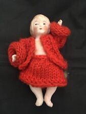 Antique German Doll House Porcelain Bisque Girl Miniature Red Wool Clothing