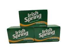 Vintage Irish Spring Original Deodorant Bath Bar Soap 3 Bars 4 Oz Sealed Boxes