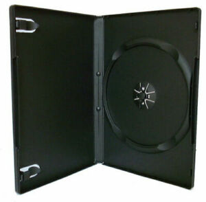 25 x Single DVD Cases Black with 14mm Spine and Clear Cover Sleeve